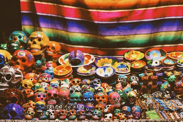mexikói halottak napja, színes koponyák