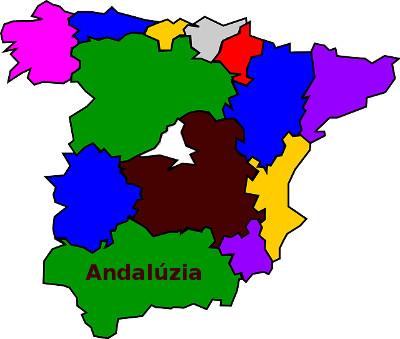 spanyol térkép Andalúzia